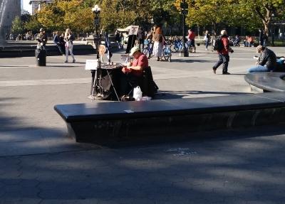 Activista anti Trump en Washington Square